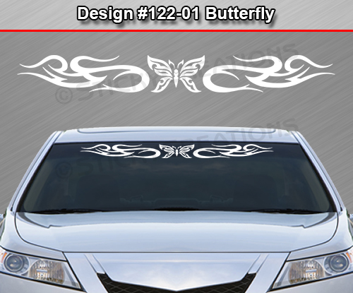 Design 122 01 Butterfly Tribal Swirl Windshield Decal