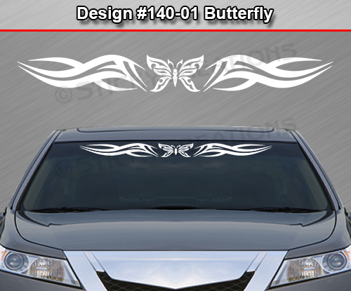 Design  BUTTERFLY Tribal Swoosh Windshield Decal Window - Car windshield decals