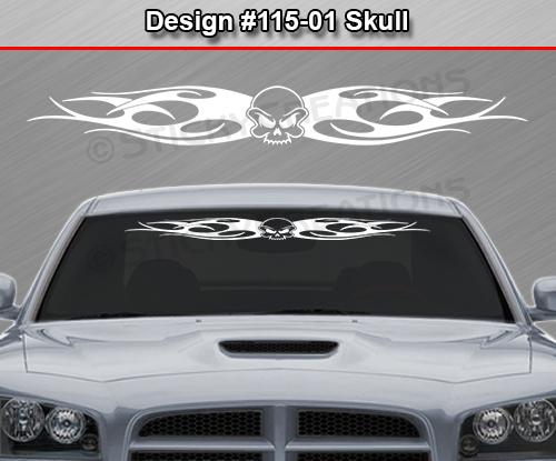design 115 01 skull tribal flame windshield decal window sticker vinyl graphic ebay. Black Bedroom Furniture Sets. Home Design Ideas