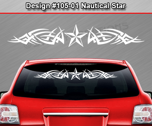 Design  NAUTICAL STAR Rear Window Decal Sticker Vinyl - Rear window decals for cars