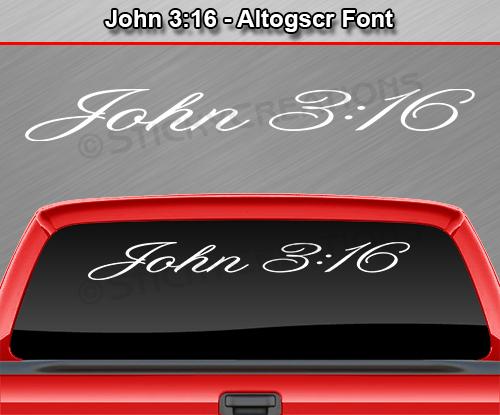 JOHN Altogscr Font Windshield Decal Rear Window Sticker Vinyl - Bible verse custom vinyl decals for car