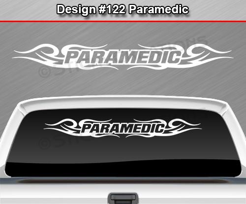 Design  PARAMEDIC Tribal Swirl Windshield Decal Window Sticker - Rear window decals for cars