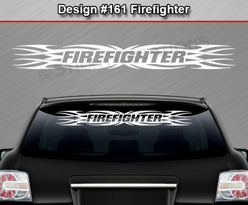 Design  FIREFIGHTER Tribal Flame Windshield Decal Window - Custom rear window stickers for cars