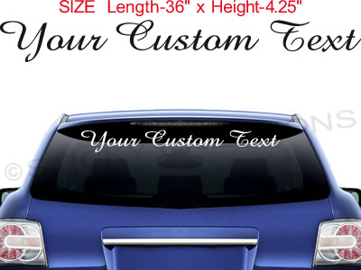 CUSTOM TEXT Window Script Decal Lettering Personalized - Car window decals custom